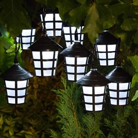 Set of 20 White LED Solar Powered Traditional Black Lantern Lights
