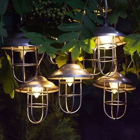 10 Solar Warm White Galvanised Metal Caged Retro Lanterns