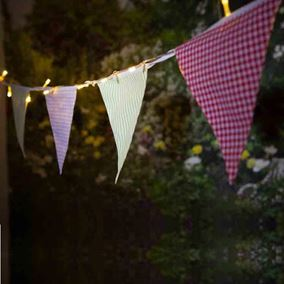Solar Powered Village Bunting Light Chain With 30 Warm White LEDs