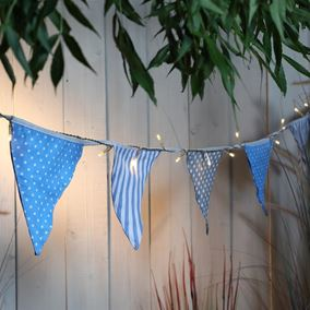 Solar Powered Blue Coastal Bunting with 30 LEDs