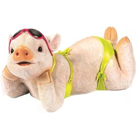Relaxing Pig in Bikini Novelty Garden Ornament