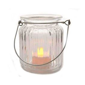 LED Glass Tealight Holder with Candle