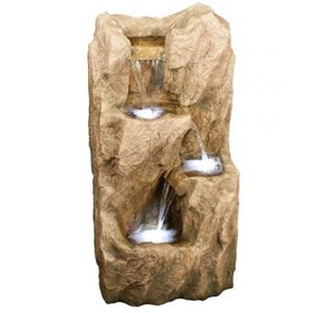Three Fall Rockface Garden Water Feature with LED Lights