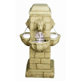 Four Face Lion Garden Water Feature with LED Lights