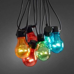 10 Traditional Multi Coloured Festoon Outdoor Party Lights (Add On Set)