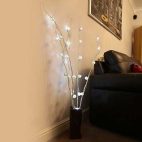 Set of 5 White Cane Twig Lights (30 Ice White LED's)
