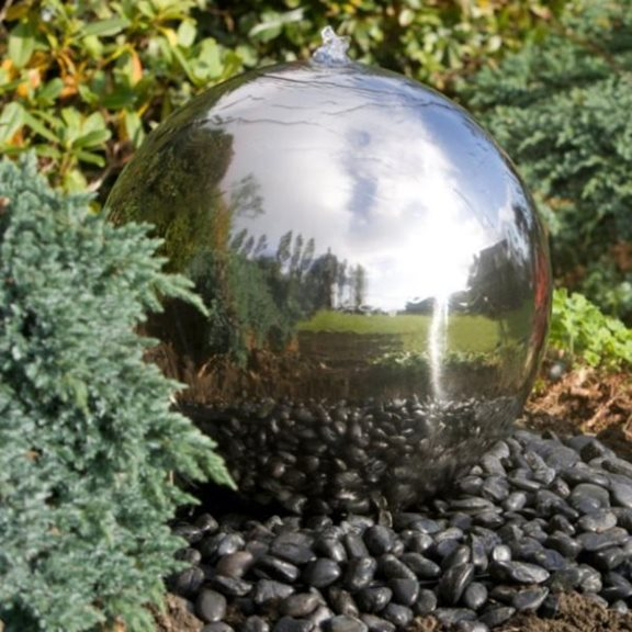 additional image for 50cm Solar Powered Stainless Steel Sphere Water Feature