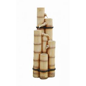 Bamboo Poles Solar Powered Water Feature with Battery Back Up