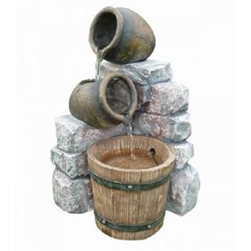 Two Pots With Barrel Water Feature (Solar Powered)