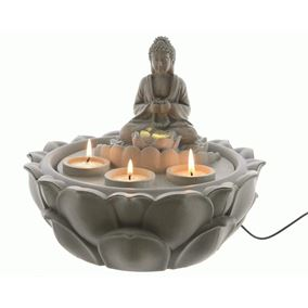 LED Tranquil Buddha Indoor Fountain with Lotus Base