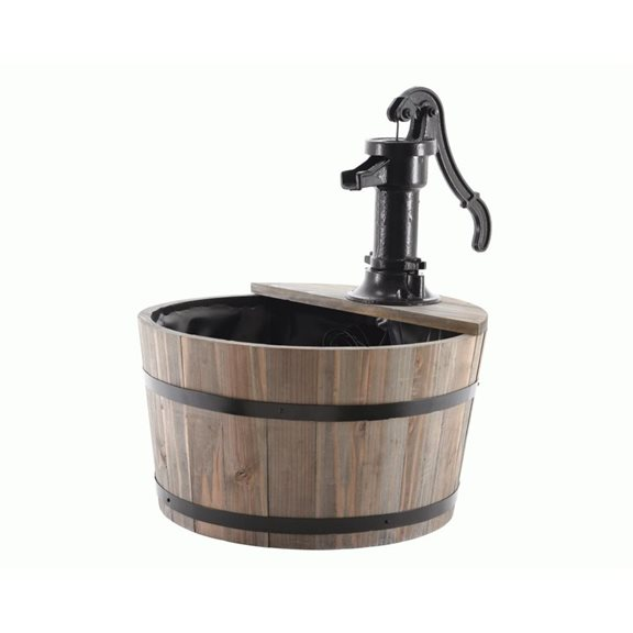 additional image for Fir Wood Barrell Drum Water Feature with Cast Iron Pump