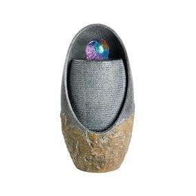 Grey Granite Oval Water Feature with Crystal Ball