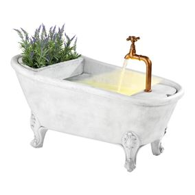 Bathtub Water Feature with Removable Planter and LED Light