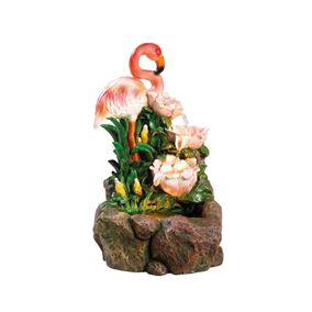 Tropical Flamingo Oasis Water Feature with Warm White LED