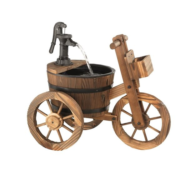 Wood Barrel Bicycle Water Feature with cast Iron Pump