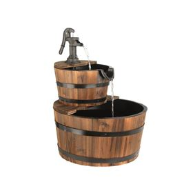 Medium Two Tier Wood Barrel Water Feature with Cast Iron Pump