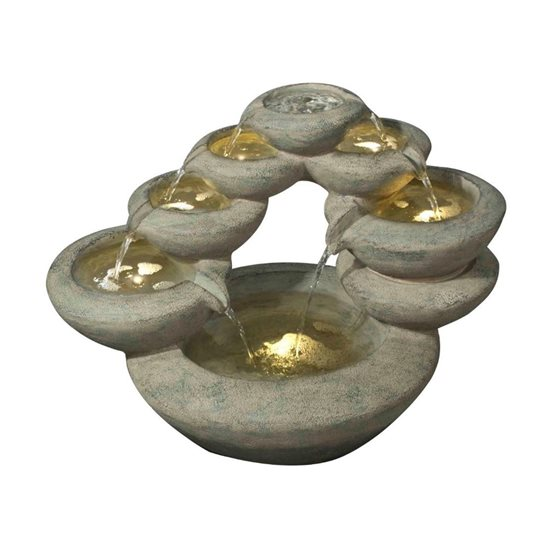 additional image for 7 Fall Oval Bowls Modern Lit Water Feature