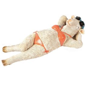 Sunbathing Lamb in Bikini Novelty Garden Ornament