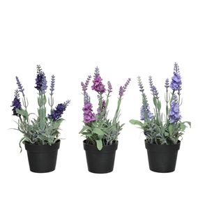 Artificial Lavender Plants in Pots (Triple Pack)