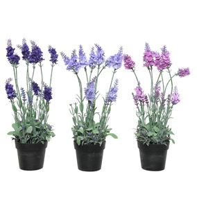 Triple Pack of Artificial Lavender Potted Plants