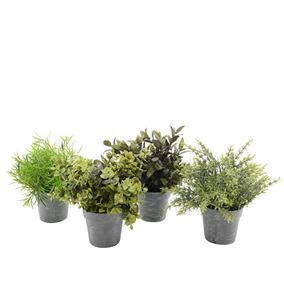 Set of Four Artificial Plants in Tin Effect Pots
