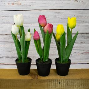 Artificial Tulips in Pots (Triple Pack)