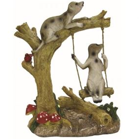 Meerkat On Swing Garden Ornament