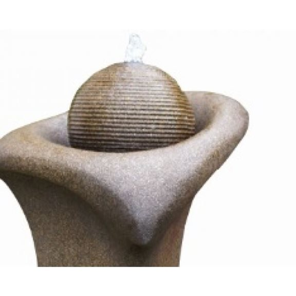 additional image for Brown Ribbed Sphere on Column Water Feature