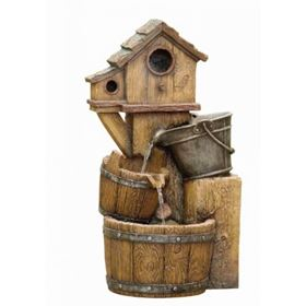 Wooden Birdhouse Garden Water Feature with LED Lights