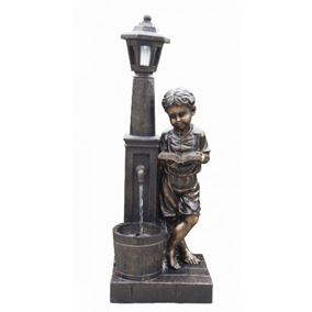 Boy Reading at Lamp Water Feature with LED Lights