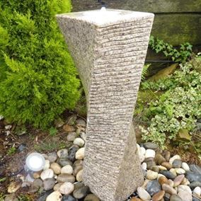 Twisted Beige Granite Column Water Feature Kit