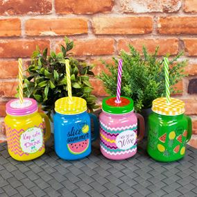 Colourful Fruity Drinking Jars With Straws (4 Pack)