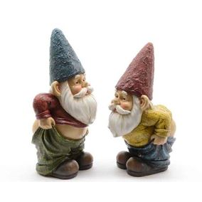 Set of 2 Cheeky Pants Down Garden Gnomes