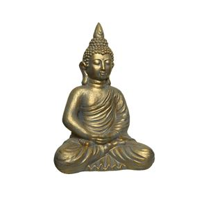 Washed Gold Buddha Sitting In Lotus Pose