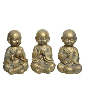 Washed Gold Cheerful Buddhist Monk Statues (Triple Pack)