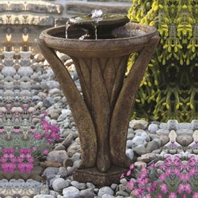 Two Tier Meadows Glow Fountain Cast Stone Water Feature