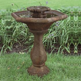 2 Tier Chelsea Glow Hex Fountain Cast Stone Water Feature