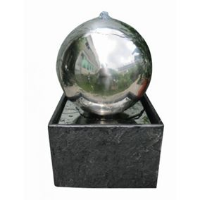 Adelaide Stainless Steel Water Feature with Granite Base (Solar Powered)