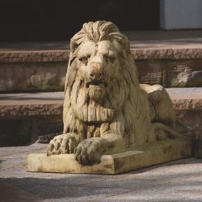 Classic Laydown Lion-Left Cast Stone Garden Ornament