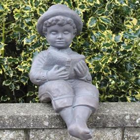 Small Reading Boy Cast Stone Garden Ornament