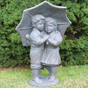Rainy Day Children Cast Stone Garden Ornament