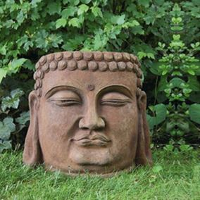 Buddha Face Cast Stone Garden Ornament