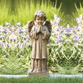 Choir Angel Cast Stone Garden Ornament
