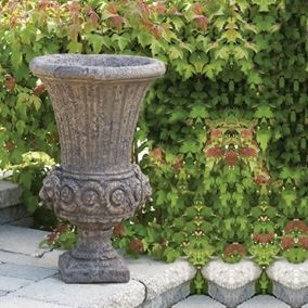 Lion Head Urn Cast Stone Garden Ornament