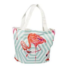 Pink Flamingo Patterned Beach Bag with Handle