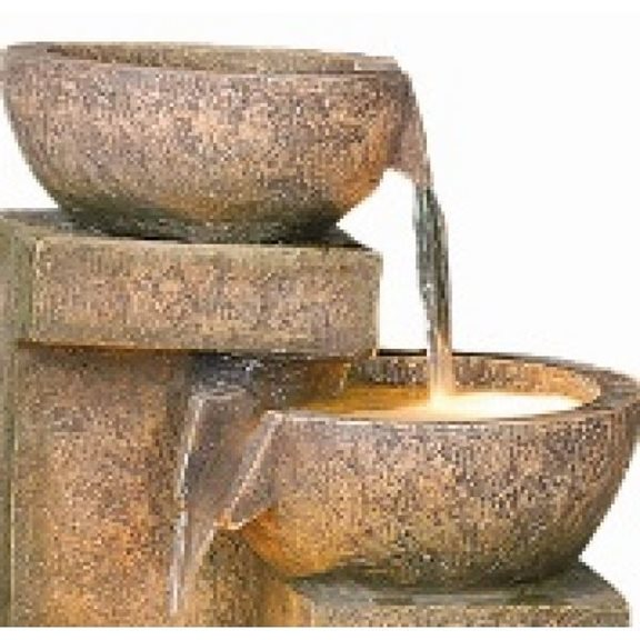 additional image for Four Granite Copper Bowls Water Feature with Lights