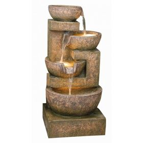Four Granite Copper Bowls Water Feature with Lights