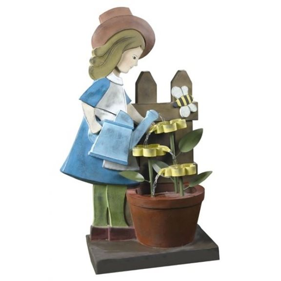 Animated Girl Watering Flowers Garden Water Feature