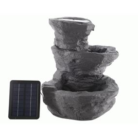Solar Powered 3 Tier Rock Fountain
