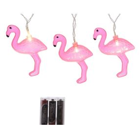 Pink Flamingo LED Battery Operated String Lights
